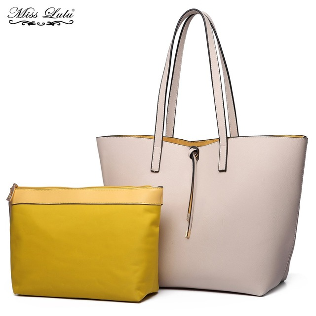 0877fc1b0acbf Miss Lulu 2 Pieces Women Handbags Reversible Shoulder Bags Ladies Large  Shopper Bag Girls PU Leather