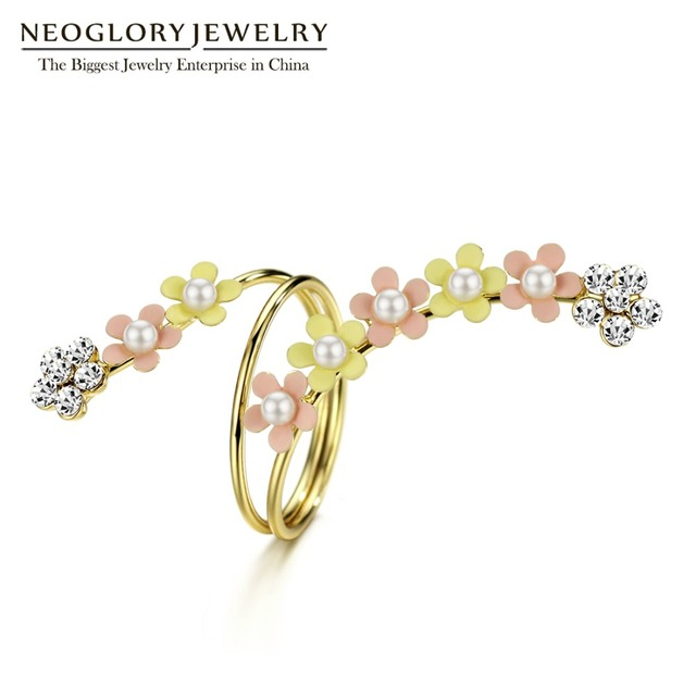 Neoglory Multilayer Colorful Light Yellow Gold Color Simulated-pearl Enamel  Flower Rings Gifts For Women Fashion Jewelry 2018 97bd9d78d8f7