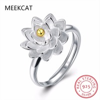 MEEKCAT Lotus Flower 925 Sterling Silver Open Rings For Women Retro Style Lady Prevent Allergy Sterling