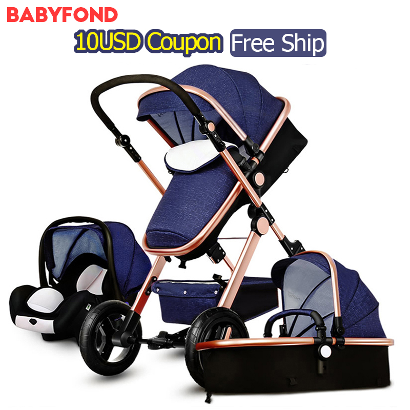 Free Ship! 3 in 1 baby strollers and  sleeping basket newborn baby carriage 0~36 months Europe baby pram gold frame baby car original hot mum baby strollers 2 in 1 bb car folding light baby carriage six free gifts send rain cover