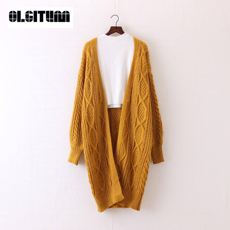 2018 OLGITUM New Women Long Cardigans Autumn Winter Open Stitch Knitting Sweater Cardigans V neck Oversize Cardigan Coat SW707