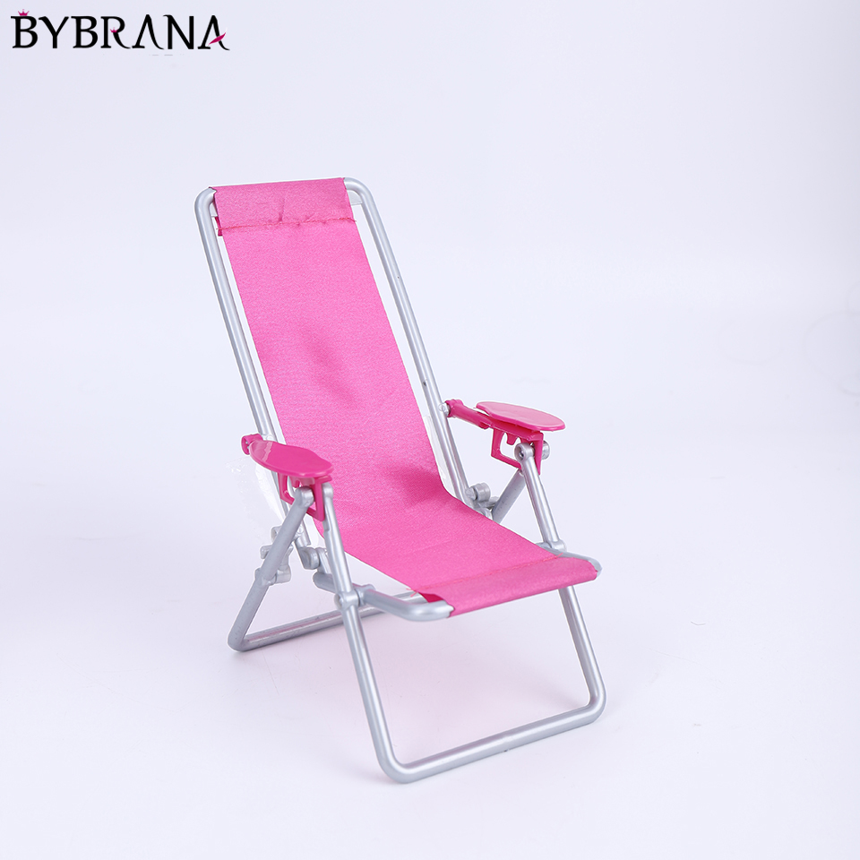 Bybrana Dolls House Furniture Scale 1: 6 Foldable Bath Chair Accessories For Doll For Beach Chair House Lounge Rose Red