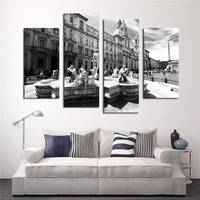 4 Panel Gray Series Classical Architecture Hd Picture Modern Home Wall Decor Canvas Print Painting For House Decorate Unframed