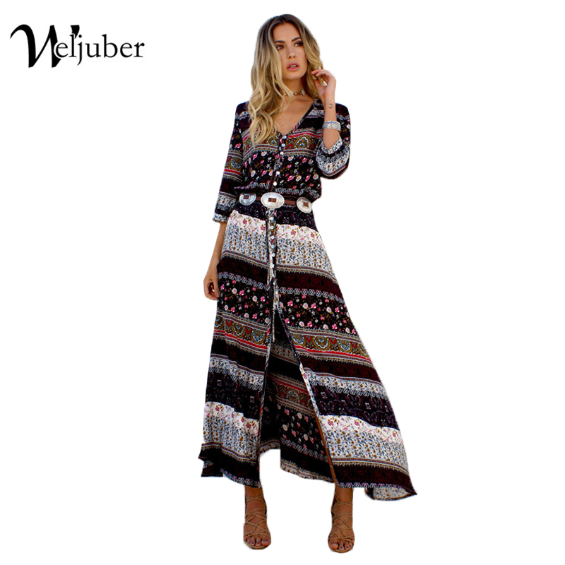 Women Beach Boho Maxi Dress 2017 Summer High Quality Brand V-neck Print Vintage Long Dresses Feminine Plus Size Weljuber