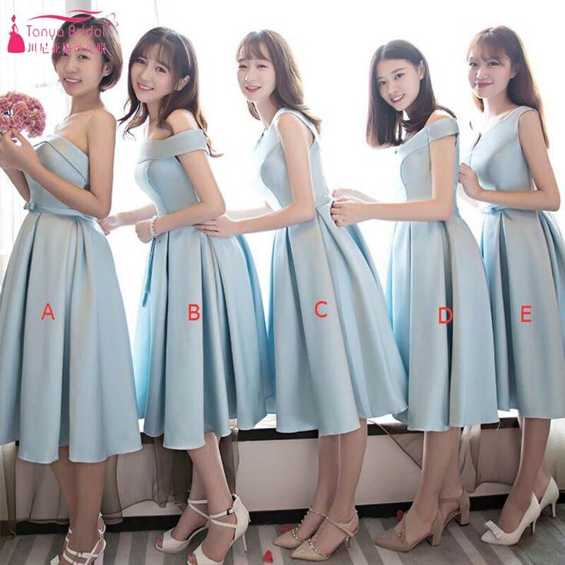 1be986909 Cielo azul corto Vestidos De dama De Honor Simple satén barato moda Vestidos  De fiesta boda Vestido De dama De Honor ZP038