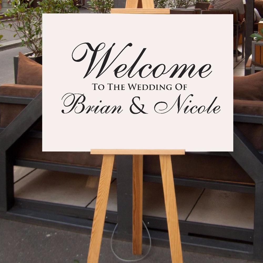 Simple Custom Wedding Sticker Welcome Sign Wedding Decal for Chalkboard Personalized Name and Date Removable Wall Stickers S001