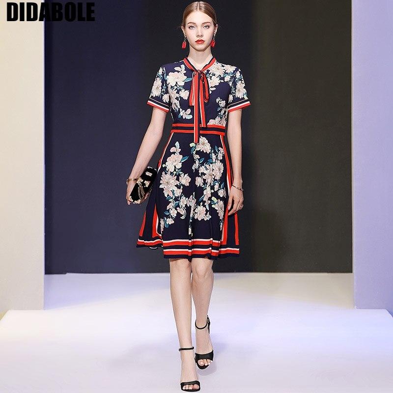 Nouvelle tenue européenne et américaine de DIDABOLE 2019 an, nœud, taille relevable robe à manches courtes