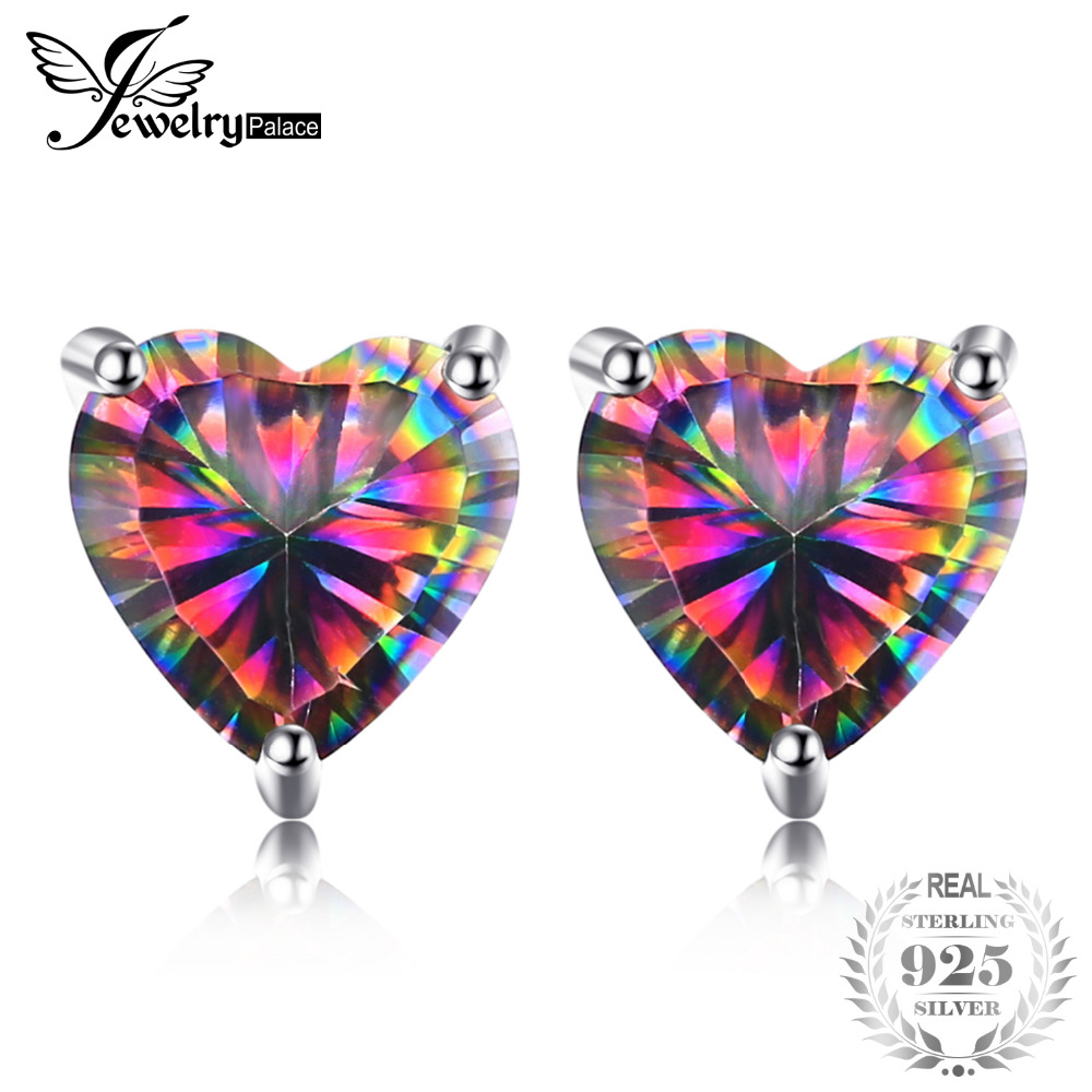 Jewelrypalace Love Heart Natural Mystic Rainbow Topaz Stud Earrings 925 Sterling Silver Brand Party Wedding Jewelry For Women