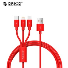 ORICO 3 in 1 USB Cable For iPhone X 8 7 6 Plus fast Charging Cable For Type-c Micro USB Android Mobile Phone Charger Cable Black