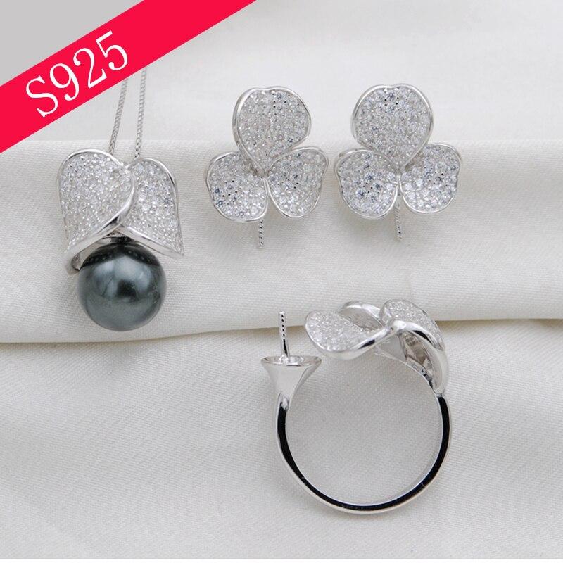 Perle en argent massif parure de bijoux bijoux avec zircon bague réglable Montage Argent 925 Boucle D'oreille Pendentif Sans Perle Livraison Gratuite