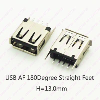 10PCSUSB 2.0 jack A Type USB Connector Female Socket Straight Feet 180degree DIP (H=13.0mm) 1cm usb jack 10mm a type female usb 2 0 180 degree dip vertical usb connector socket