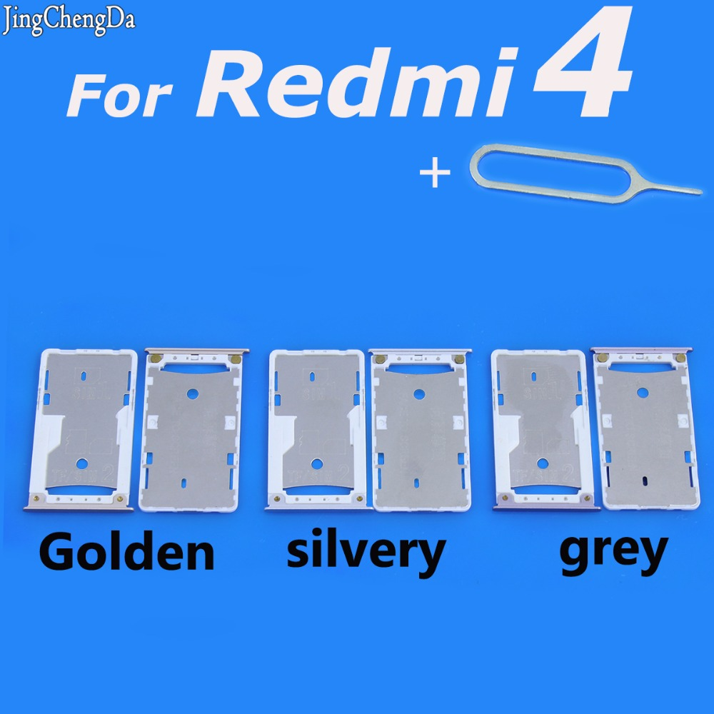 Jing Cheng Da Golden/silvery/grey Micro SIM Card Tray Holder Micro SD Card Slot Holder Adaptert for Xiaomi for Redmi 4