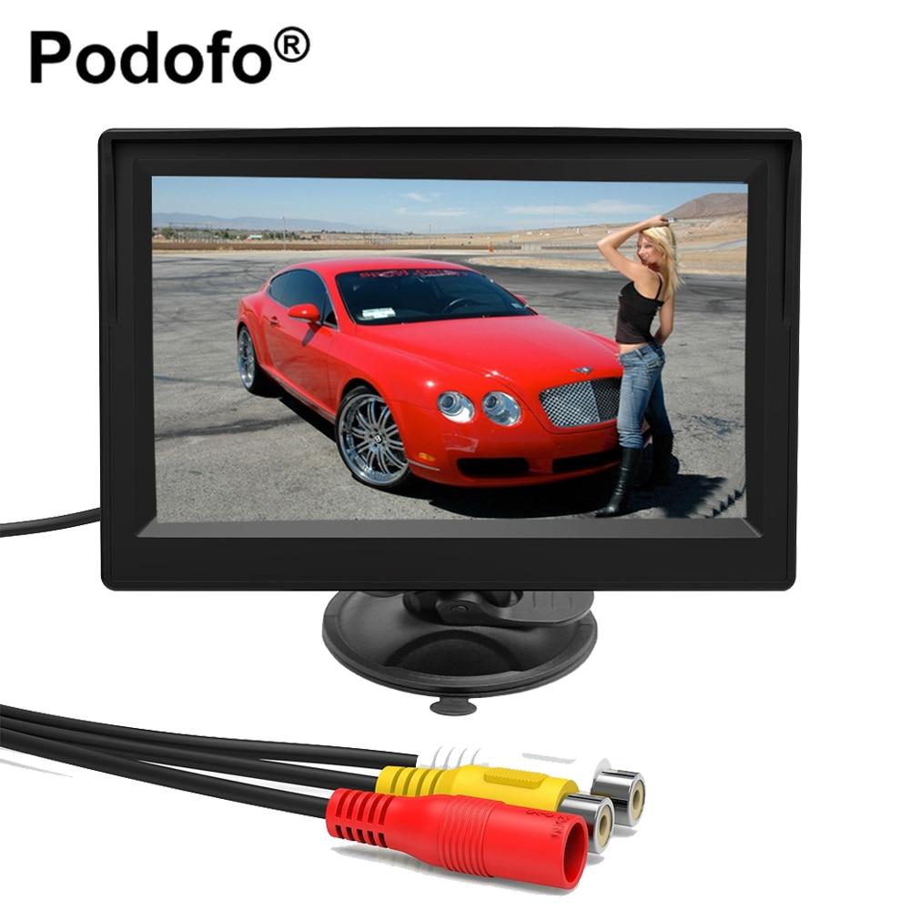 Podofo 4.3 moniteur de voiture TFT LCD De Voiture Vue Arrière Moniteur Parking Système de Recul pour la Sauvegarde Caméra de Recul Soutien VCD DVD Auto TV