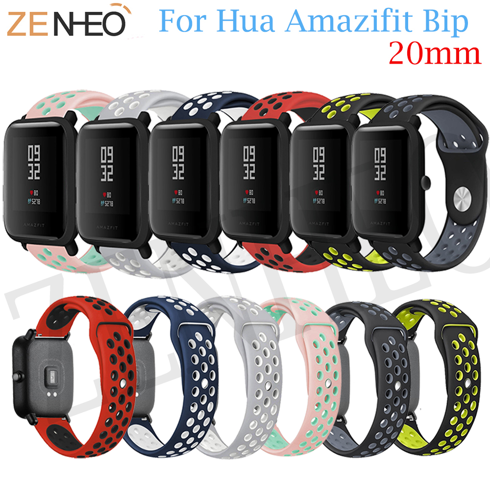 20mm Sports Silicone Wrist Strap for Xiaomi Huami Amazfit Bip BIT PACE Lite Youth Smart Watch For Huami Amazfit Bip Band Strap 3in1 metal strap double color band for original xiaomi huami amazfit bip bit pace lite youth smart watch screen protector film