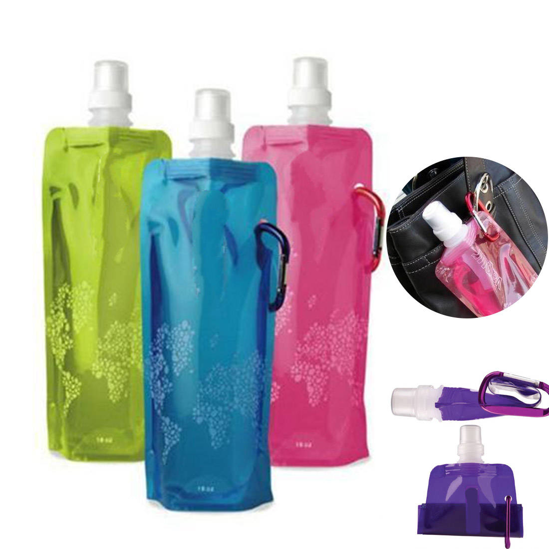 Great 480ml Portable Foldable Water Bottle Ice Bag Running Outdoor Sport Camping Hiking Random Color