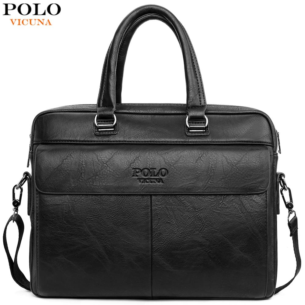 VICUNA POLO High Capacity Leather Laptop Briefcase Bags For Men Casual Business Man Bag Cross Body Messenger Shoulder