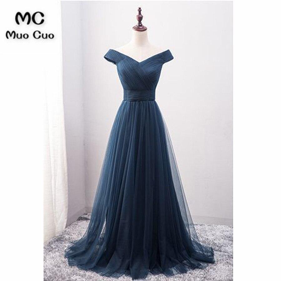 Scintillant 2018 Foncé Bleu Off Épaule robes De Bal Longue Tulle Manches Courtes robe pour obtention du diplôme Formelle de Soirée De Bal Robe