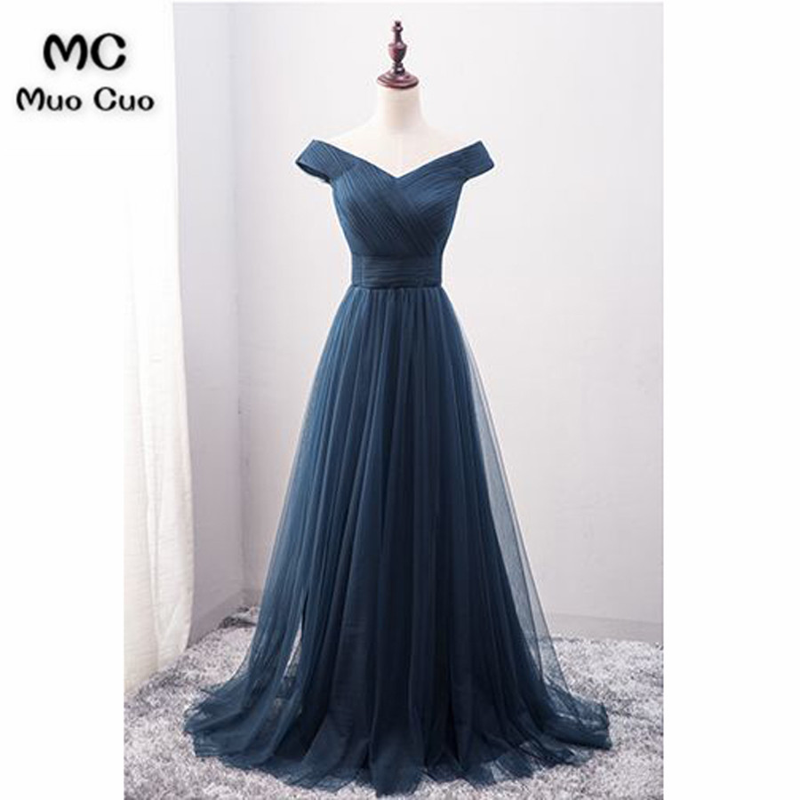 Sparkly 2018 Dark Blue Off Shoulder Prom Dresses Long