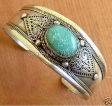 Popular Tibetan Jewelry Tibet Silver Inlay Green jade Lucky Cuff Bracelet Bangle wholesale bracelets Antique Men's(China)