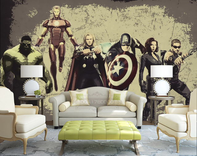 Vintage Avengers Photo Wallpaper Custom 3D Wall Murals Marvel Heroes  Wallpaper Interior Art Decoration Boys Kids Part 44