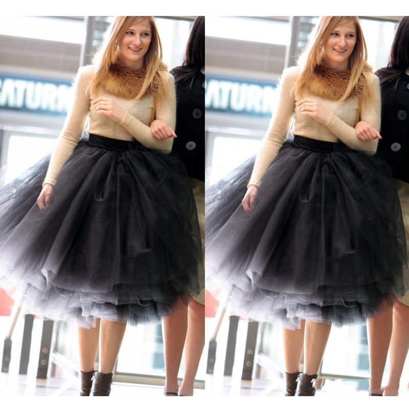 Super Puffy Black Short Tulle Skirt Plus Size Knee Length Ball Gown Midi Skirt for Women Top Quality Customized Adult Tutu Skirt