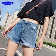 201Vintage High Waist loose Crimping casaco femin Shorts Women 2019 Style Casual Jeans Summer Hot Short Pants
