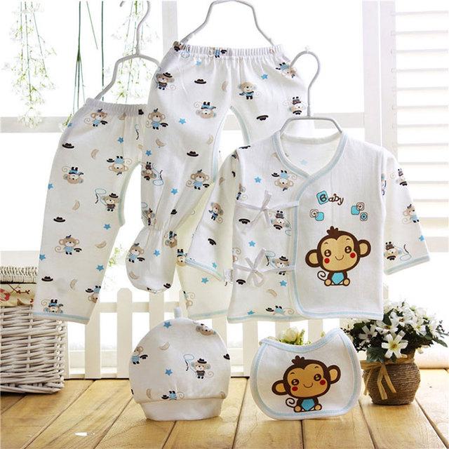2017 0-6 M newborn bebés meninos primavera verão roupas de bebê menina roupas de marca terno dos esportes para a roupa do bebê terno de algodão 5 pcs conjuntos