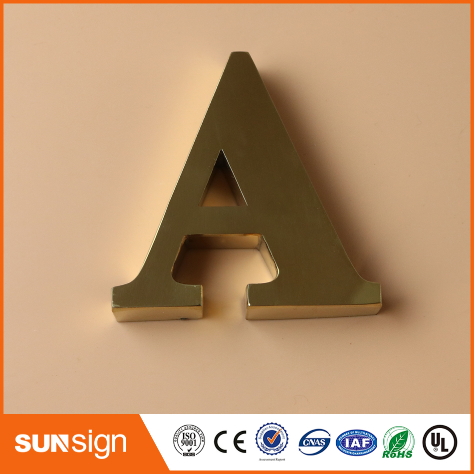 Customize Outdoor Mirror Polished Gold Color Stainless Steel Letters Sign