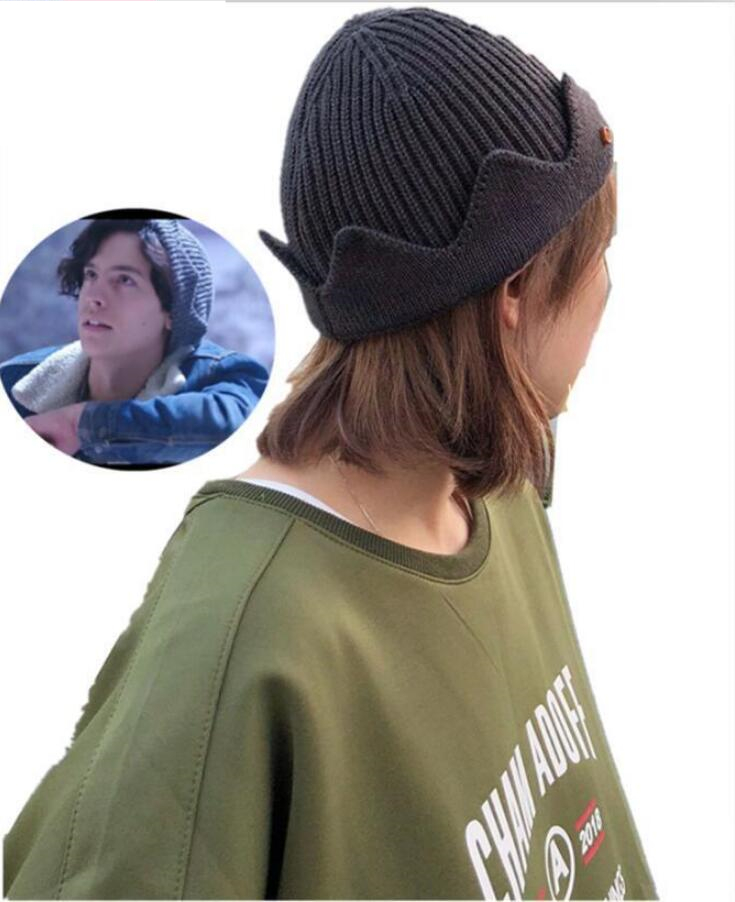 10cd0aba0af Womens Riverdale Jughead Jones Cosplay Warm Beanie Crown Knit Hat Skullcap  Winter Dark Gray