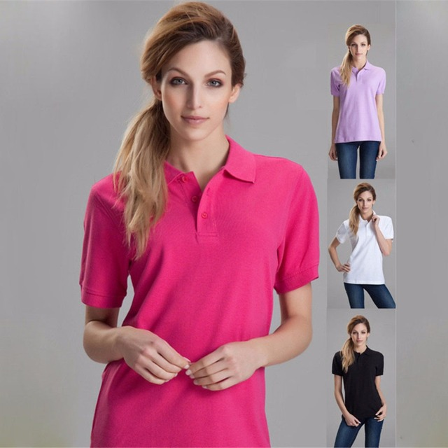 Plus Size Women Summer Brand Polo Customization Cotton Short Sleeve Poloshirt Mujer Polos Femmes 2016 Dames Company Office Shirt