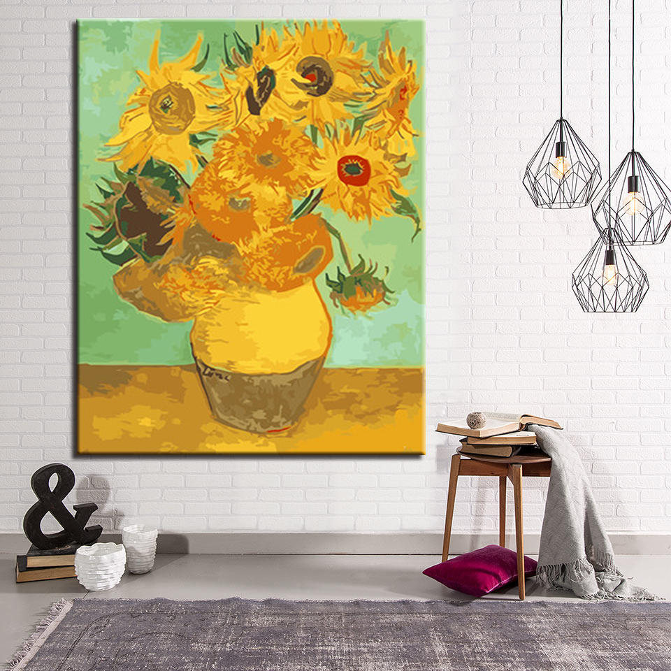 Home Decorative Modular Wall Art Beautiful Sunflower DIY Painting By ...