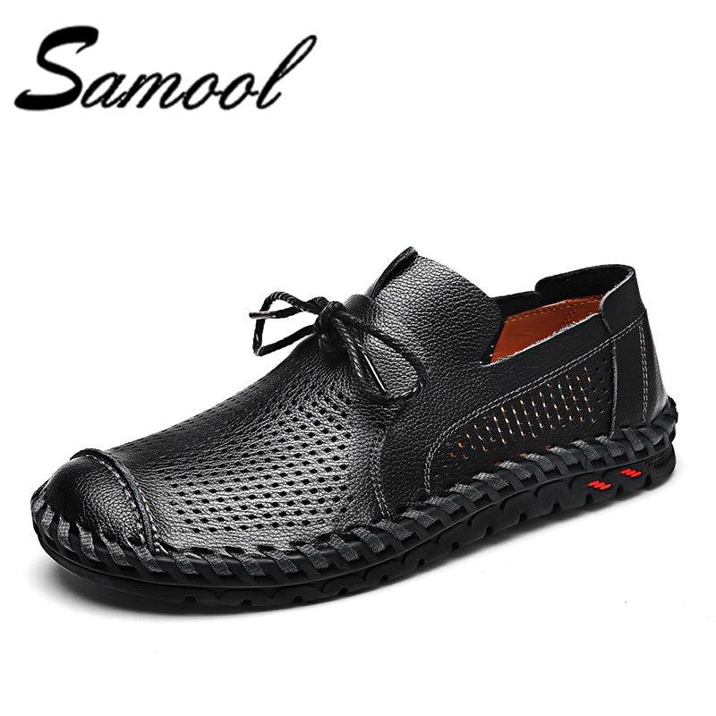 где купить Samool Men Loafers Casual Summer Shoes Sewing Leather Slip On Driving Shoes Soft Moccasins Holes Comfort Light Mens Flats Qx5 по лучшей цене