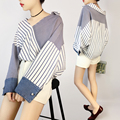 New 2017 Spring Striped Contrast Colors Patchwork Women Blouse Shirts Feminine Denim Cuffl Loose Blusas Camisa Feminina Shirt