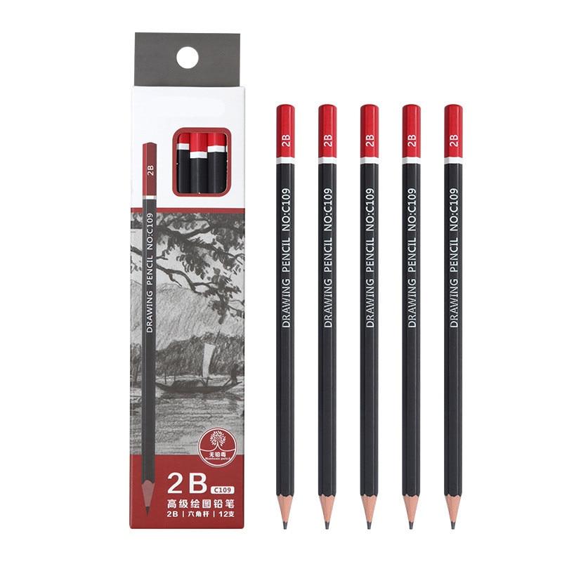 12 pcs/box Sketch pencil HB 2B 3B 4B 5B 6B 8B 10B 2H 3H Soft medium hard carbon pen Office school drawing pencil|Standard Pencils|   - AliExpress