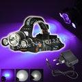 Boruit XM-L 1T6+2x Purple R5 LED Headlamp Head Flashlight Torch 3 Modes Hunting Headlight Lanterna 3000 Lumen with Ac Charger