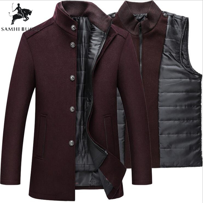 Winter Warm Wool Coat Men Thick Overcoats Topcoat Mens Single Breasted Coats And Jackets With Adjustable Vest Men's Coat 2