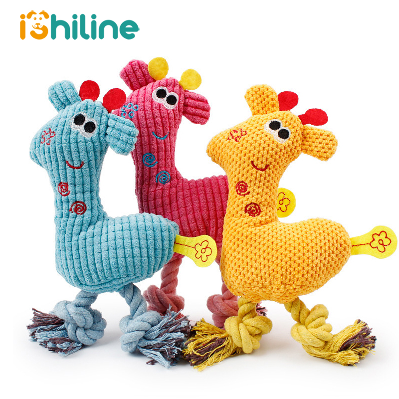 Dog Chew Squeak Toys Giraffe Fleece Rope Interative Toy Animals Plush Puppy Deer For Pet Dogs Cat Chew Squeaking Toy