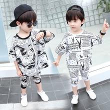 Boy Clothing Set  Clothes Kids Short Sleeve cartoon Print T-Shirt+ pant 2pcs Suit 2-8T Children 2019 Summer