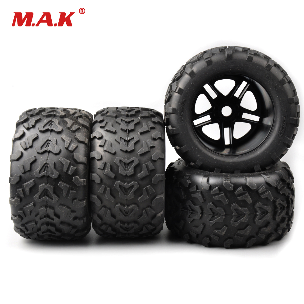 4 PCS 1/8 Rc Accessory 17mm Hex Rubber Tires&Wheel Rims Tractor Trailer Climbing Car Rubber Tires for HSP HPI Bigfoot Truck