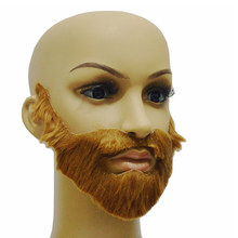 Brown Halloween Beard Adult Men Fake Beard Mustache With Elastic Band Festival Party Supplies Adult Gag Toys(China)