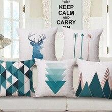Home textile geometric decorative throw pillow case cover cotton linen square cushion cover for sofa home decor capa de almofada