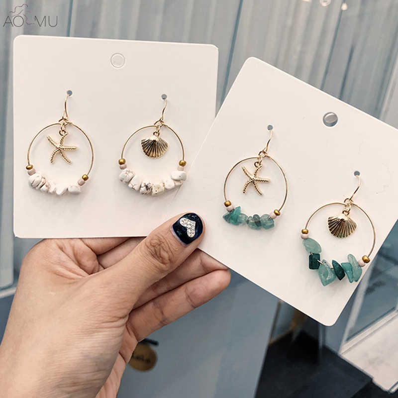 AOMU 2019 New Cute Starfish shell Acrylic Stone Beads Geometric Round Circle Big Hoop Earrings for Women Girl Student Jewelry