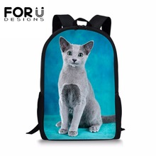 FORUDESIGNS Russian Blue Cat School Bags for Girls Boys Cute Siberian Backpack Kids Children Book Bag Dropshipping