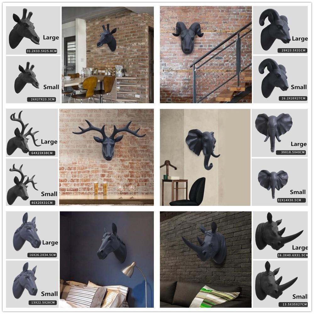 Animal head wall decoration deer goat rhino elephant for Animal head wall decoration