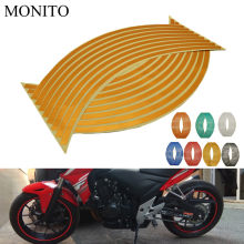 "Hot Motorfiets Wiel Sticker 16 ""17"" 18 ""Reflecterende Decals Velg Tape Strip Voor Honda PCX 125 150 KAWASAKI Versys 650 KLZ1000 Z400(China)"