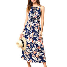 Women Summer Spaghetti Strap Sundress Floral Maxi Dress Boho Long Beach for Casual Vacation Daily Life