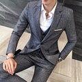 3 pc Outono Inverno Dos Homens Novos Terno Grosso Vestido de Noiva Slim Fit ternos Para Os Homens Um Botão Conjunto Blazer Cinza Dos Homens de Negócios Informais terno