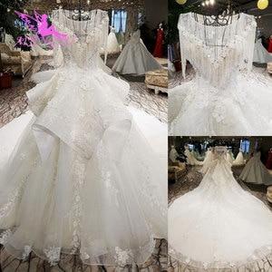 Image 1 - AIJINGYU לפרוע חתונה רומנטית שמלות כלה שמלת למכירה בריטניה ארוך שרוול סוז לבן פשוט שמלת תחרה חתונה שמלת יצרנית
