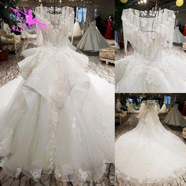 AIJINGYU לפרוע חתונה רומנטית שמלות כלה שמלת למכירה בריטניה ארוך שרוול סוז לבן פשוט שמלת תחרה חתונה שמלת יצרנית