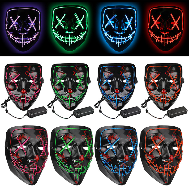 Led Mask Halloween Party Masque Masquerade Masks Neon Maske Neon Light Skull LED Light Flash Grimace Fluorescent Novelty Mask